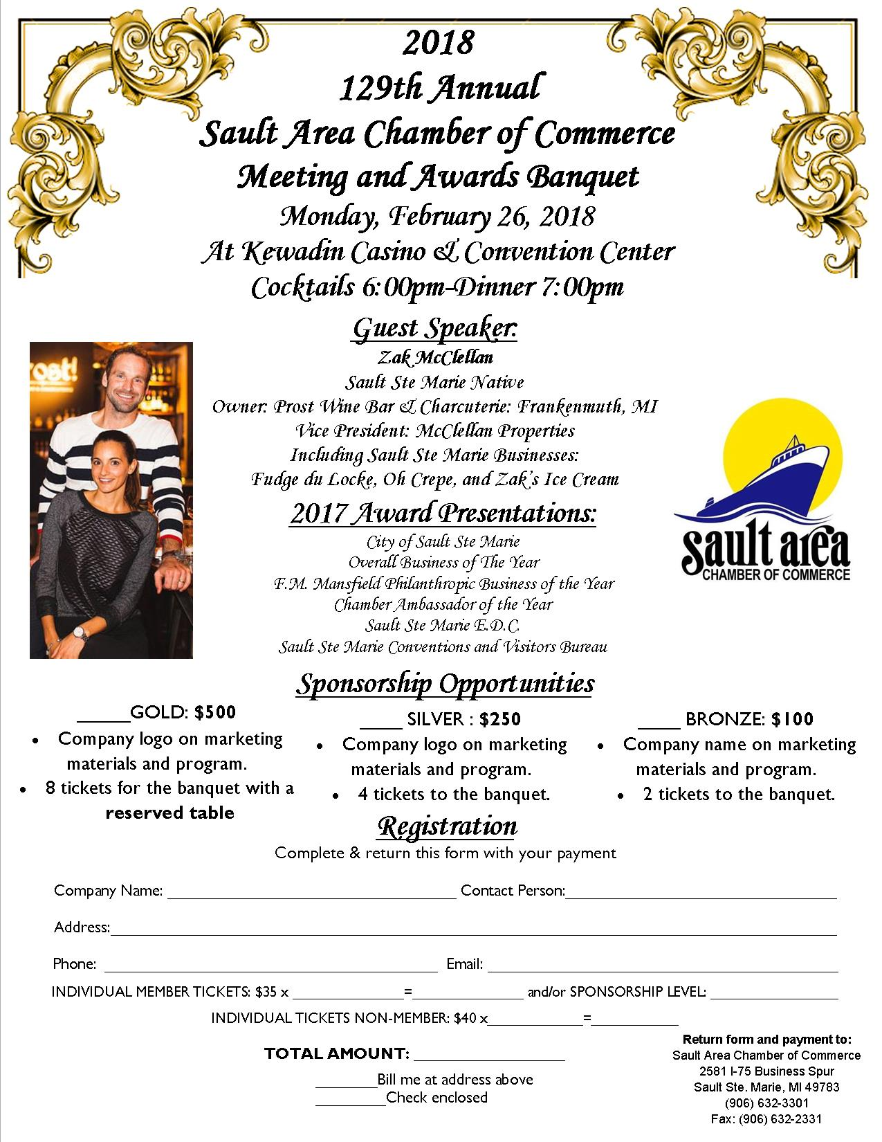 banquet flyer 2018 sault ste marie chamber of commerce